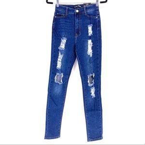 Fashion Nova Women's Distress Jeans - Juniors 7/8